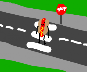 a hot dog crossin the street