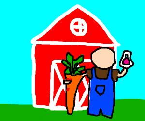 Farmer uses a potion to grow a giant carrot