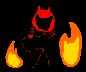 Stickman devil with fire