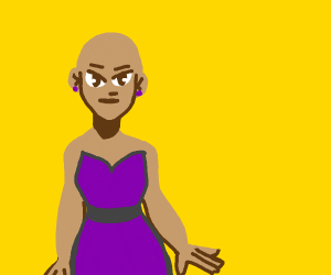 bald lady in adress