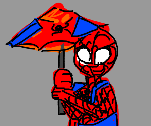 Spider-Man with his Spider-Umbrella