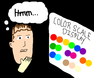 Guy looks at different color scales