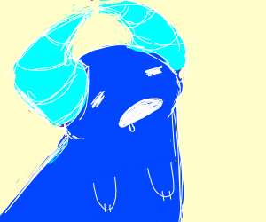 Confused blue monster