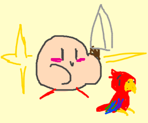 Kirby about to eat a parakeet