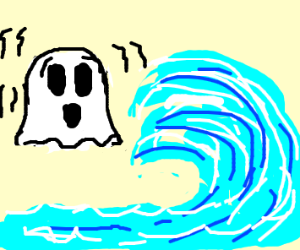 Ghost scared of a big wave