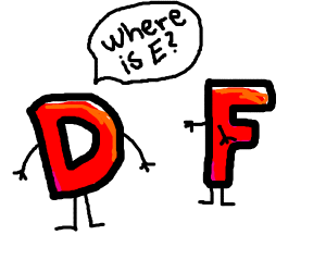 Red Drawception asks Red F where E is