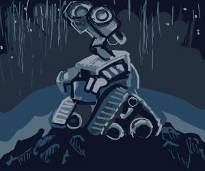 Wall-E in the rain