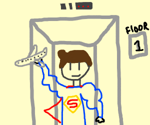 super man on an elevator with a plane