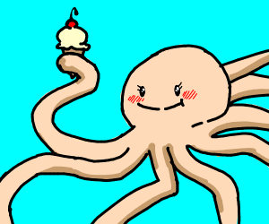 Beige Octopus eats Ice Cream