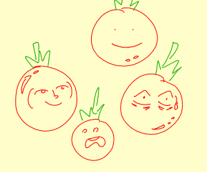 Tomatoes with faces