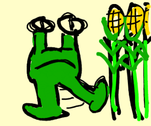 Alien kicking corn