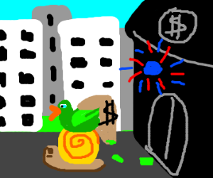 duck robbing a bank with a snail teller