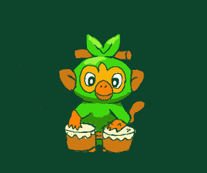 Grookey playing the Drums