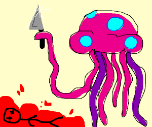 killed by a jellyfish with a knife