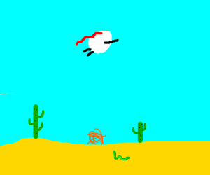 Super egg flying over a desert