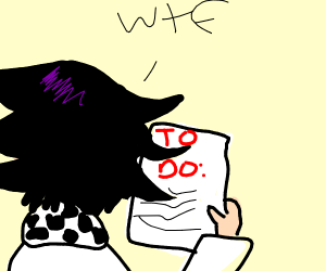 someone looking at a to do list very confused