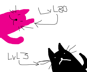 pink cat is stronger than black cat