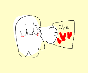 Adorable ghost in love with hearts on its che