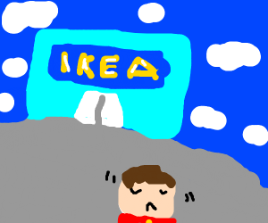 man leaves ikea, dissappointed