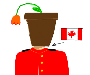 Canadian's head is a flowerpot