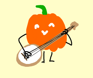 pumpkin ready to play the banjo