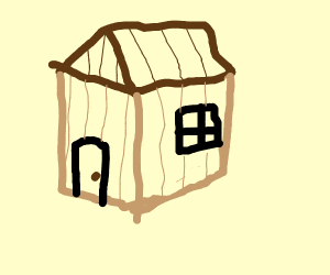 Tiny shed with brown roof light brown wall
