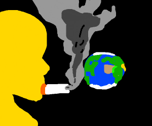 sick person smoking in earths face