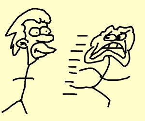 Stickman runs from Lenny stickman, horrified