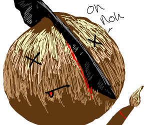 Onion with a brush about to be murdered