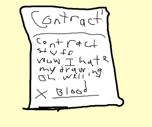 signing a contract with blood