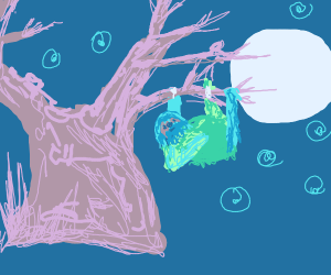 Celestial sloth hangs on tree