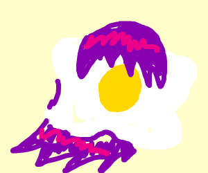 egg with anime girl hair