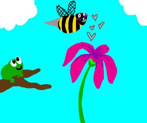 Frog happy when Bee is in love with a flower