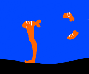 Clown fish with a giant foot