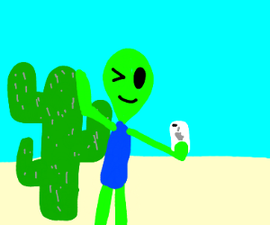 Alien And Cactus Taking A Selfie