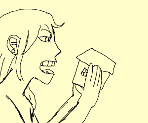Giantess about to eat a house