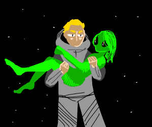 Man rescues female alien