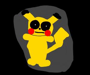 pikachu w/ deep black eyes starting into dist