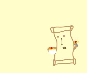 Papyrus eating spaghetti