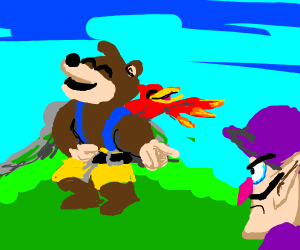 Banjo Kazooie laughing at Waluigi