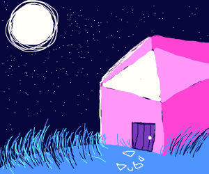 A cottage in the moonlight