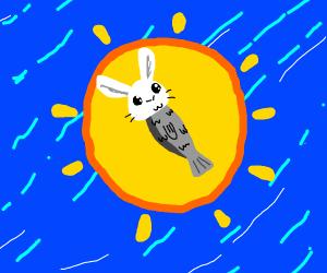 Rabbit-headed sardine bathes in filtering sun