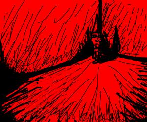 man in dunce hat stands in corner