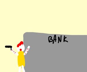 Ronald McDonald robbing a bank