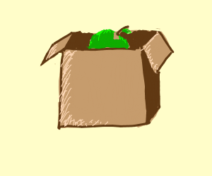 green apple in a box