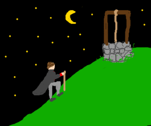 men climb hill, get water from well at night