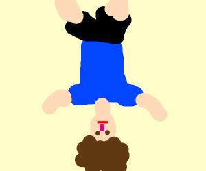 Upside down person