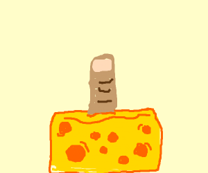 Finger coming out of swiss cheese