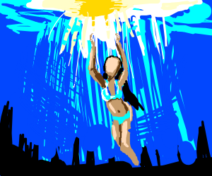Lady swims in water, it's sunny out