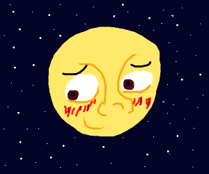 The moon is embarrased